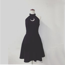 Wholesale Club Moon - Wholesale- Women Sexy Black Halter Dress Hot Summer Party Dress Embroidery Moon Printing Out Design Off the Shoulder Short Dress