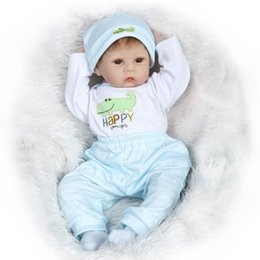 """Wholesale Bjd Baby - 22"""" So Truly Real Brown Eyes Hand Rooted Mohair Reborn Baby Dolls Very Soft Kids Toy Doll in Blue Baby Clothes"""