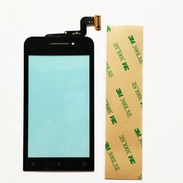 Wholesale Glass Panel Connector - Wholesale- 4.0 Inch Front Glass For Asus Zenfone 4 A400CG Touch Screen Panel With Digitizer Connector Black +Tape Free Shipping