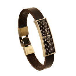 Wholesale Circle Eagle - Fashion Jewelry Cross Eagle Heart Star Anchor Alloy Leather Bracelet Men's Casual Personality Beaded Bracelet Vintage Punk Bracelet B1160