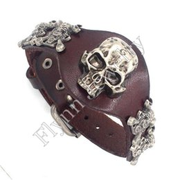 Wholesale Traditional Watch - Leather Bracelets Charms Bangle Skull Watch Watchband Design Adjustable Punk Rock Hiphop Decorations Amulet Fashion Jewelry