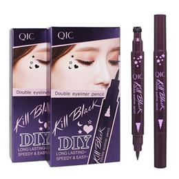 Wholesale Tattooed Eyeliner - Pro Waterproof Liquid Eyeliner Tattoo Stamp Eye Liner Pencil Long-last Double Head Eyeliner Women Makeup Tools