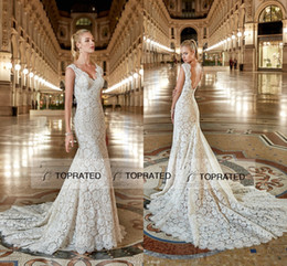 Wholesale Cheap Fitted Caps Free Shipping - Eddy K 2017 Mermaid Lace Wedding Dresses Open Low Back Buttons Fit and Flare Fishtail Skirt Cheap Bridal Gowns Plus Size Free Shipping