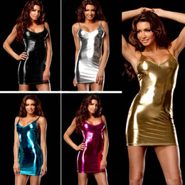 Wholesale New Women Sexy Lingerie Teddy - New 9 color sexy lingerie hot women Imitation leather skirt teddy Club sexy costume erotic underwear sexy slim lingerie dress