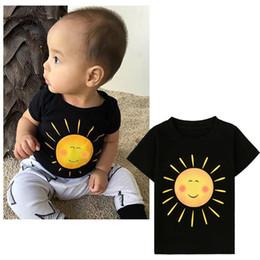 Wholesale Kids Boys Round Neck Tshirt - INS hot Children short sleeve sun print T shirt Kids black cotton Tshirt