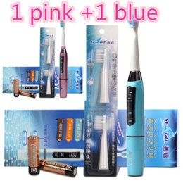 Wholesale Oral Bristles - New Crazy Sales 1+1 Dental Battery Operated Electric Toothbrush Sonic Power Soft Dupont Bristle with 5 Brush Heads Toothbrush Oral Hygiene
