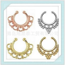 Wholesale Horseshoe Ring Stainless Steel - New fake septum Stainless Steel Circular Horseshoe Nose Ring Piercing Crystal Medical Titanium Hoop Body Jewelry