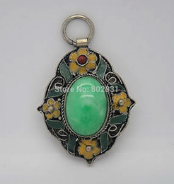 Wholesale Tibetan Style Pendants China - HOT SALE! Old Tibetan Style Carved Art Natural Green Jade Tibet Silver Pendant