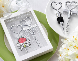 Wholesale Stainless Steel Heart Bottle Stoppers - Wedding Favors Gifts Wine Bottle opener Heart Shaped Great Combination Corkscrew and Stopper Heart-Shaped Sets DHL Free 150sets=300pcs