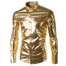 Wholesale Party Dresses For Clubs - Wholesale- Mens Trend Night Club Coated Metallic Halloween Gold Silver Button Down Shirts Party Shiny Long Sleeves Dress Shirts For Men