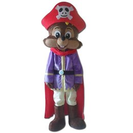 Wholesale Squirrel Mascot Costumes - SX0724 a small squirrel mascot costume with a purple shirt and a cloak for adult to wear