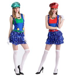 Wholesale Luigi Party - 2017 New Arrival Halloween Cosplay Costumes Super Mario Luigi Brothers Fancy Dress Up Party Cute Costume For Adult Children