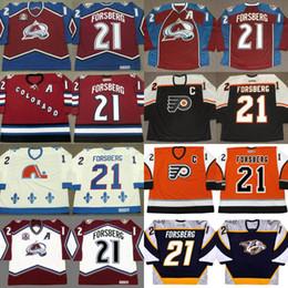 Wholesale Peter Forsberg Jersey - 21 Peter Forsberg Jersey Colorado Avalanche 1996 2001 2002 2010 Philadelphia Flyers 2006 Quebec Nordiques 1994 CCM Throwback Jerseys