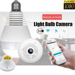 Wholesale Ip Video Recording - WIFI connection panoramic camera P2P hidden bulb IP camera surveillance HD 1080P video recording LED lights spy camera wireless APP remote