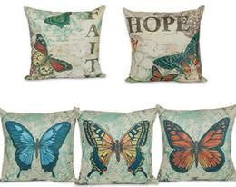 Wholesale Woven Textiles Wholesale - Butterfly Digital Print Cotton Blend Sofa-Cushion Cover Cute Papillon Naps Pillow Cases Square Home Textile Decoration Cushion Covers