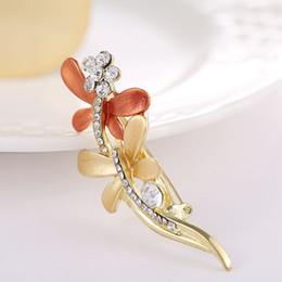 Wholesale Vintage Dragonfly Brooch Rhinestones - Women's Vintage Jewelry Broocjes Gold Tone Bridal Wedding Crystal Rhinestone Dragonfly GLAZE Brooch Pin Two Colour Options