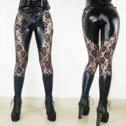 Wholesale Punk Rock Leggings Women - women's fashion Punk rock pants heavy Lace Crochet Leather Leggings black leather pants