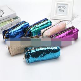 Wholesale glitter coin purses wholesale - 6 Colors Mermaid Sequin Clutch Bag Mermaid Sequin Purse Mermaid Makeup Bags Cosmetic Bag Glitter Sequins Coin Bags CCA7987 100pcs