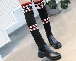 Wholesale Trendy Boots Buckles - Trendy Design Beading Belted Thigh High Denim Boots Sexy Stiletto Heel Pointy Boots Plus Size Fashion Shoes Women college style