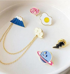 Wholesale Wholesale Fortune Cat - Wholesale-2016 New Trendy Long Chain Brooches Brooch Badge Personality Design Flower Cute Fortune Cat Brooch Pin Collar Clips Women