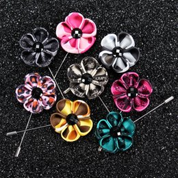 Wholesale Silver Color Suits For Men - 13 color New fashion men brooch flower lapel pin 4cm suit boutonniere fabric yarn pin button Stick Leopard brooches for wedding