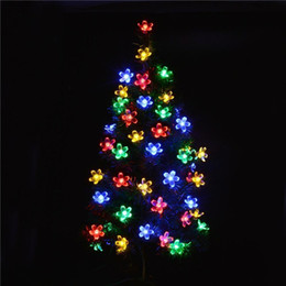 Wholesale Cherry Led Lamp - LED Solar Fariy String 7M 50LED Cherry Peach Blossom Wedding Flower Party garden Light Outdoor Festival Birthday Marry Decoration Lamps