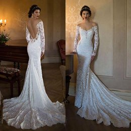 Wholesale See Through - 2017 New Berta Mermaid Wedding Dresses Long Sleeves Off Shoulder Full Lace Bridal Gowns Vestios De Novia Wedding Gowns with See Through Back