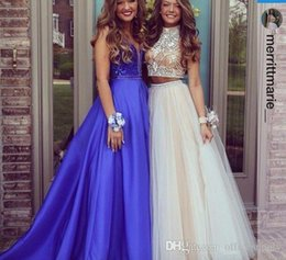 Wholesale Chiffon Gowns Beaded Tops - 2016 Sexy Two Pieces Prom Dresses High Neck Beaded Top Champagne Tulle Floor Length Formal Party Dresses Evening Gowns