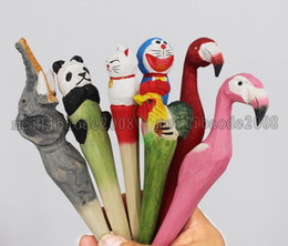 Wholesale Lovely Ball Pen - Handmade Ballpoint Pen Lovely Artificial Wood Carving Animal ball pen Creative Arts blue pens gift New many color MYY