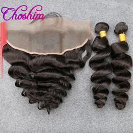 2019 reine amour vierge cheveux Choshim SloveHair Trame Brésilien Non Transformé Remy Cheveux Lâche Vague 13X4 Oreille à L'oreille Dentelle Fermeture Avec 3 ou 4 Faisceaux Pour Noir Femme 10A