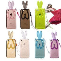 Wholesale Rabbit Iphone 4s - Fashion Cute Transparent Silicone tpu bumper Rabbit Ears Lanyard Back Stand Case Cover for iPhone 4 4S 5 5S se 6 6s 7 Plus back cover