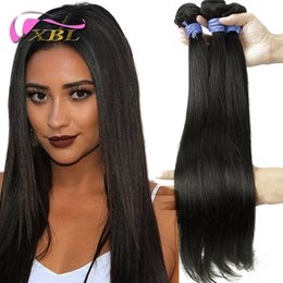 Wholesale Off Black Brazilian Hair - XBL Silky Straight 30% Off Brazilian Hair Natural Color Straight 3 Pieces A Lot DHL Free Shipping