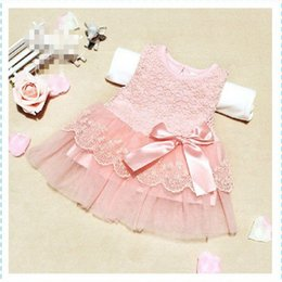 Wholesale Little Girls Wedding Outfits - Wholesale- Cute Infant Baby Girls Outfits Kids Children Lace Voile Wedding Party Dresses Little Girl Clothes new