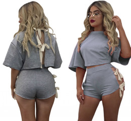 Wholesale Beautiful Women Sports - 2 Pieces Womens sport tracksuit Set winter autumn Night Clubwear Beautiful Tie Up Detail Grey Short Set Outfit Macacao Clothes LC62064