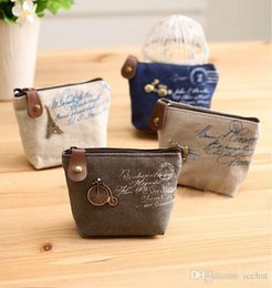 Wholesale Canvas Change Purse Wholesale - 2016 new Women's canvas bag Coin keychain keys wallet Purse change pocket holder organize cosmetic makeup Sorter 13090