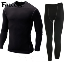 Wholesale Tight Fitting Shirts For Men - Wholesale- Falcon Men sport suits mens nylon running tights sets body fit fitness yoga spandex t-shirt pants for men run athletics clothing