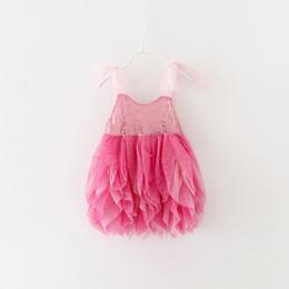 Wholesale Belt Bud Dress - 2016 girls dress summer wear han edition of bud silk sequined dresses of the girls Condole belt color matching princess skirt in summer