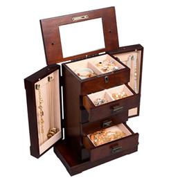 Деревянная шкатулка для драгоценностей онлайн-Шкаф Ювелирных Изделий Шкаф Коробка Для Хранения Груди Стенд Организатор Прочный Деревянный Новый