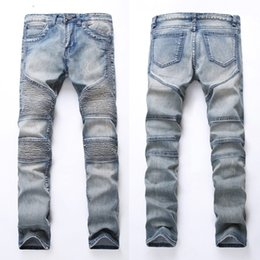 Wholesale Biker Designs - Men's Skinny Jeans Fashion Pleated Design Motorcycle Moto Biker Jean Hip Hop Mens Jeans Slim Causal Mens Denim Pants DHL Free