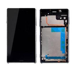 Cobertura lcd on-line-100% Origina / Lot Nova Z3 mini Display LCD + Quadro + Conjunto de Tampa USB para Sony Xperia Z3 Compact LCD Touch Screen Assembléia Livre DHL preto e branco