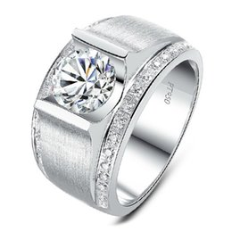 Wholesale Synthetic Jewelry Stone - Wholesale Fascinating 1.0CT VVS SONA Synthetic Diamond Ring Real 925 Sterling Silver In Platinum Plated Engagement Ring Fine Jewelry For Men