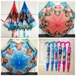 Wholesale Stretch Plastics - 120 PCS Moana Umbrella Children Kids Automatic Princess Rain Gear Sun Proof Christmas Accessories Gifts Two Color YYA331