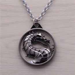Wholesale Wholesale Snake Chain Heart Pendant - 2016 Fashion Dragon Jewelry Pendant Mortal Kombat Game Logo Pendant Necklace Bronze Silver Alloy Keychain