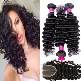 Wholesale Deep Wave Brazillian - 7A unprocessed grade brazilian deep wave curly virgin hair weave 3pcs lot brazillian deep curl virgin hair extensions with 1top lace closure