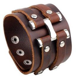 Wholesale Handcuff Leather Bracelet - Genuine Leather vintage punk BANGLE for Men Vintage cow leather Handcuffs style Bracelet Charm Bracelets Bangles wrist ornament jewelry