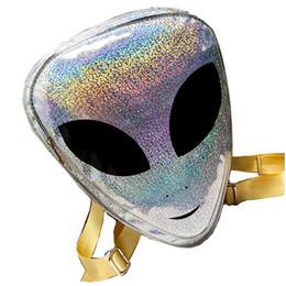 2017 Harajuku Alien Bag Funny Clear Mochila para Mujeres Hologram Hip-Hop Mochilas Transparent Laser PVC Alien Mochilas desde fabricantes