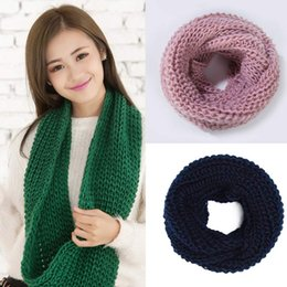 Wholesale Red Knit Infinity Scarf - Women Winter Warm Infinity single Cable Knit Cowl Neck Scarf Shawl