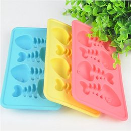 Wholesale Silicone Ice Cube Trays Fish - 3D Fish Bones Multi Colors Ice Cube Tray Silicone Ice Mold Maker Ice Cream Mold Maker Free Shipping