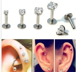 Wholesale Body Piercing Tragus - 1PC Surgical Stainless Steel Eyebrow Nose Lip Captive Bead Ring Tongue Piercing Tragus Cartilage Earring Body Jewelry