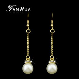 Wholesale Long Pearl Chains - Fashion Cute Gold-Color Long Chain Drop Earrings Party Simulated Pearl With Rhinestone Dangle Earrings For Female Brincos
